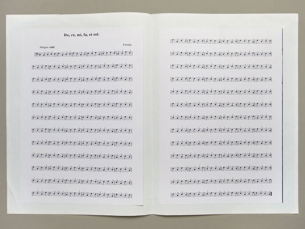Claude Closky, 'Do, ré, mi, fa et sol [C, D, E, F and G]', 1989, laser print on paper, 34 x 50 cm.
